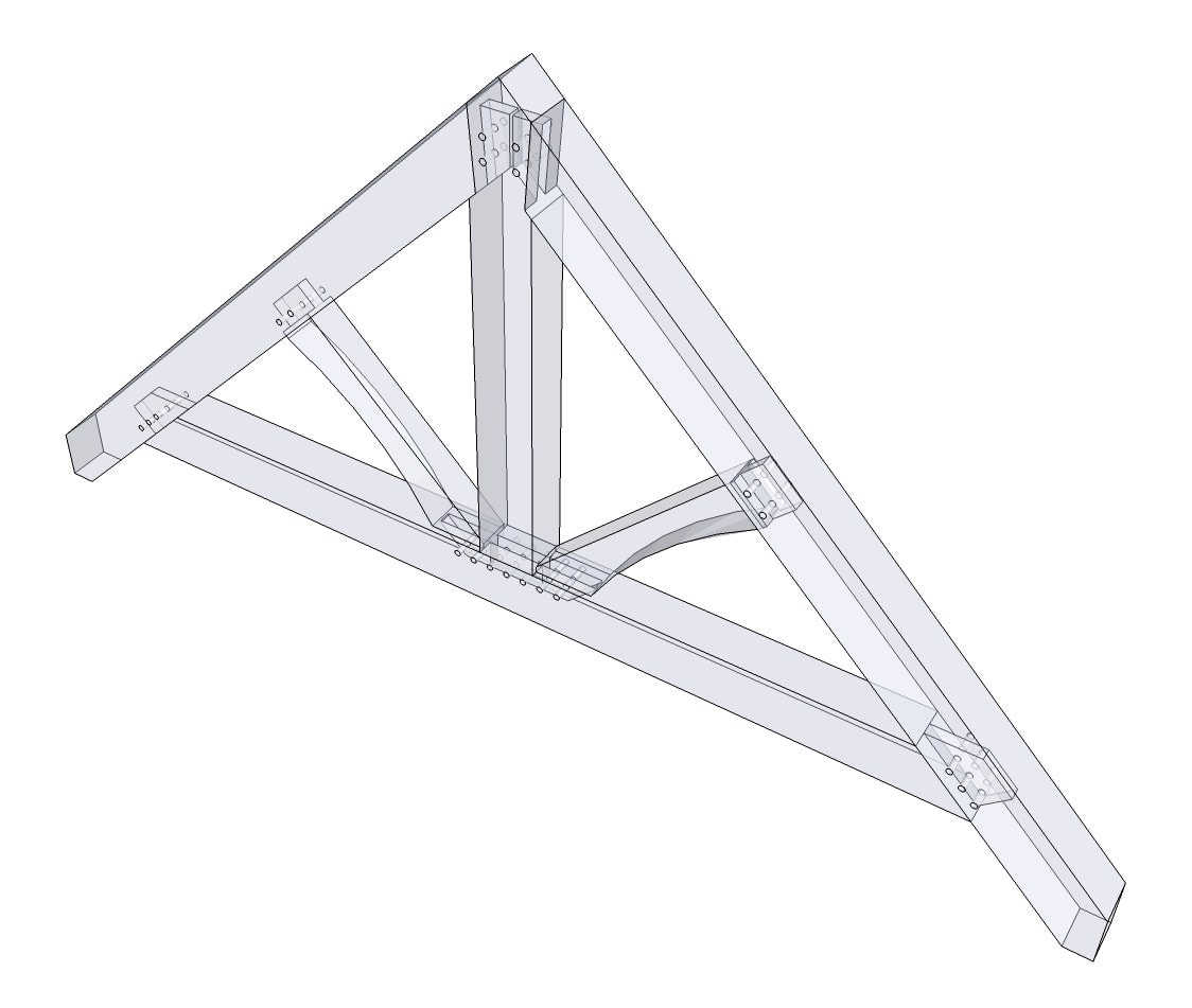 Timber frame king post truss images for Truss plan