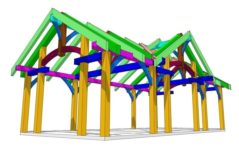 16x32 Timbered Pavilion Timber Frame Hq