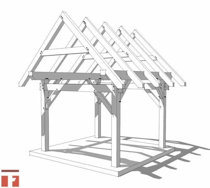 10x12 timber frame shed plan for Post and beam shop plans