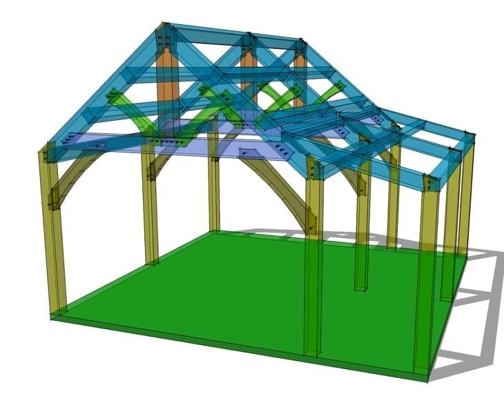 20x20 king post with shed roof plan timber frame hq for 20x20 house