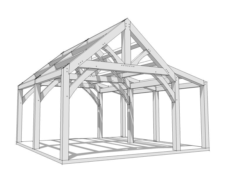 20x20 timber frame plan timber frame hq for Timber frame farmhouse plans