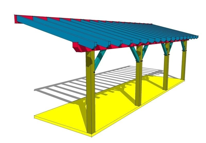10x36 timber frame shed roof plan