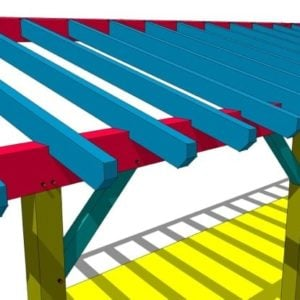 10x36 Post and Beam Shed Roof Plan