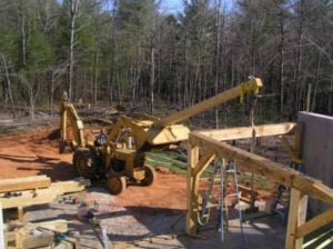 Using a Backhoe to Raise Timber Frame