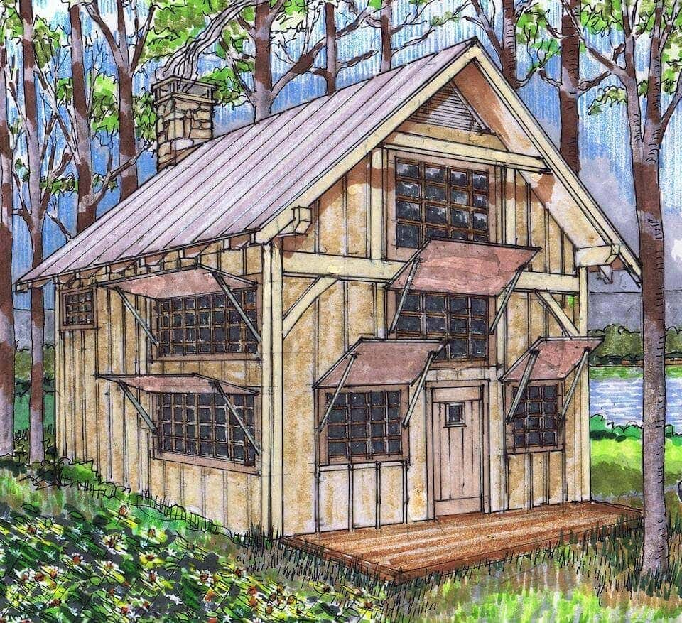 20x24 timber frame plan with loft timber frame hq for Tiny cabin designs