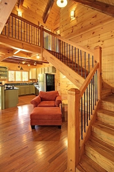 timber stairs with landing