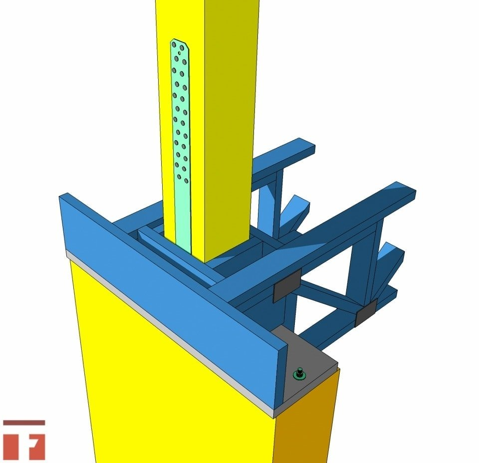 Simpson sthd strap post to concrete connection for Web floor truss