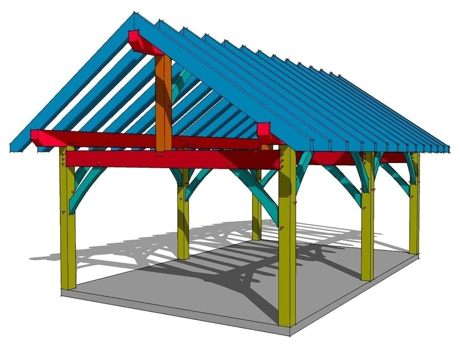 16x24 king post plan timber frame hq for 16x24 shed plans free