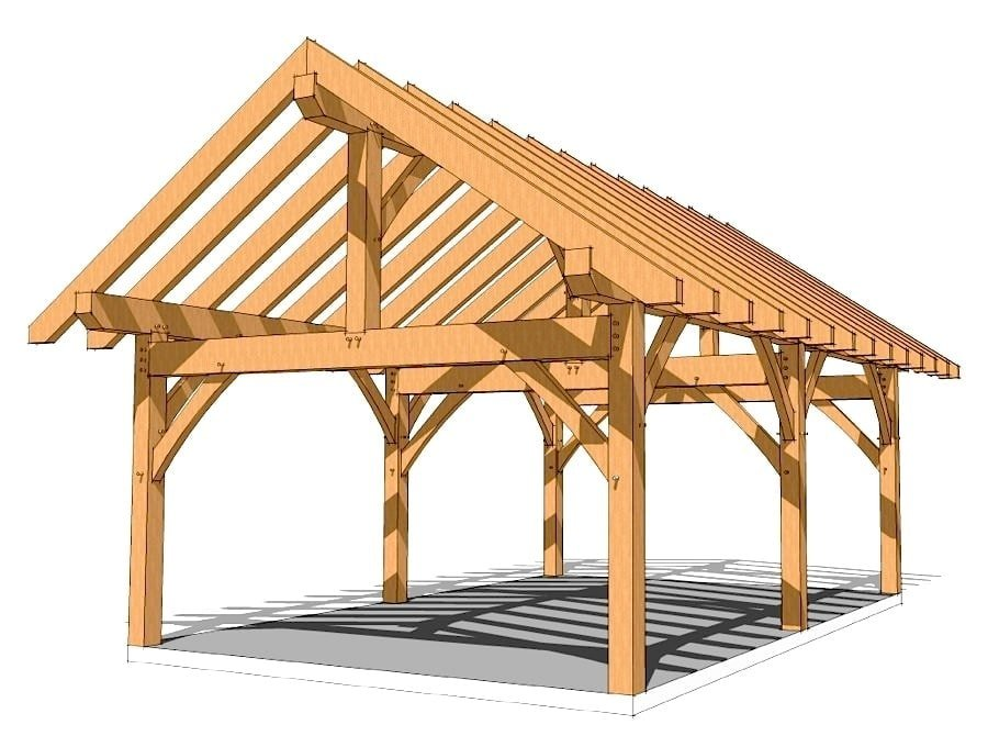 16x24 King Post Plan Timber Frame HQ – Post And Beam Garage Plans