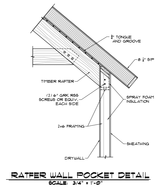 Timber Frame Rafter Wall Pocket - Timber Frame HQ