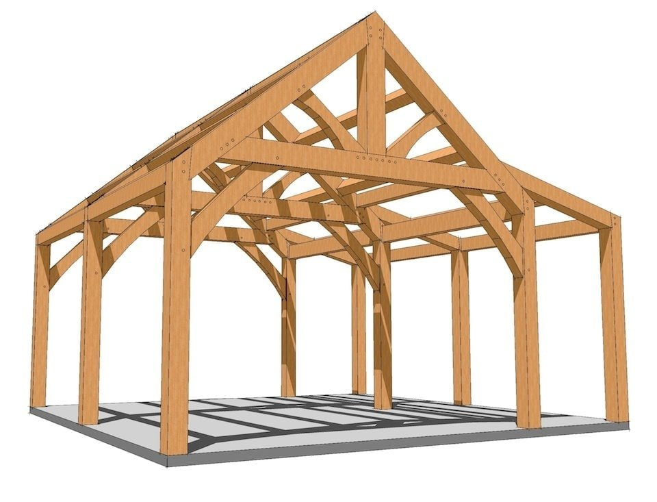 20x20 king post with shed roof plan timber frame hq for Small garage plans free
