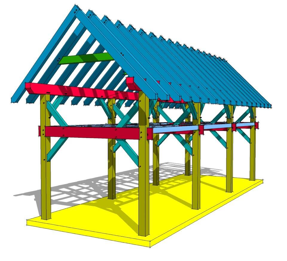 Two story 12x36 timber frame 3D