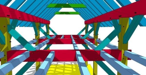 12x36 Timber Frame Second Floor 3D