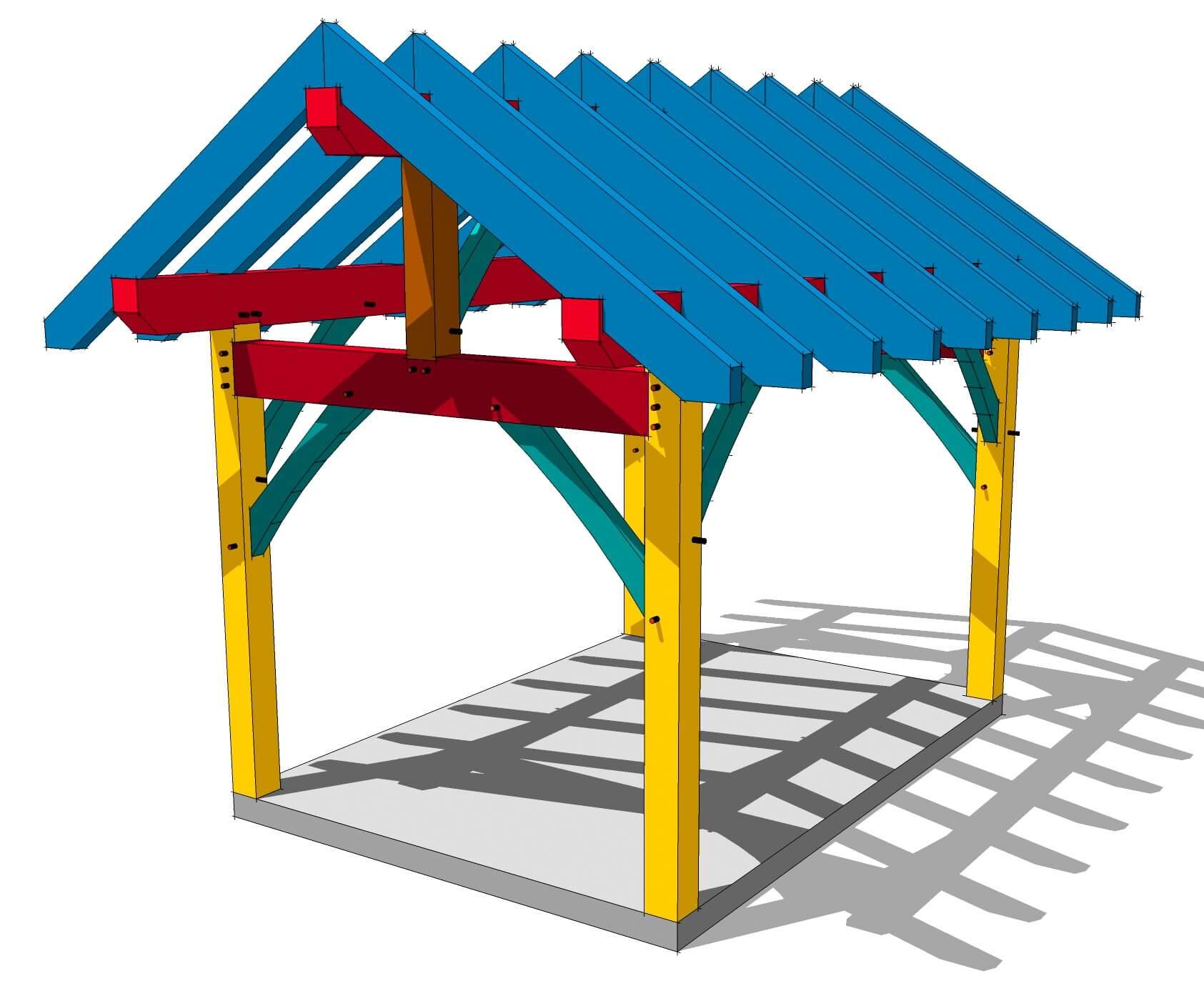 10x14 King Post Plan Timber Frame Hq