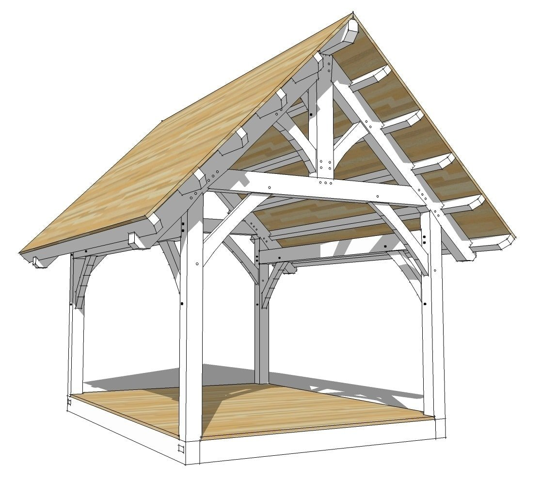 12 16 king post timber frame plan timber frame hq Timber frame house kits for sale