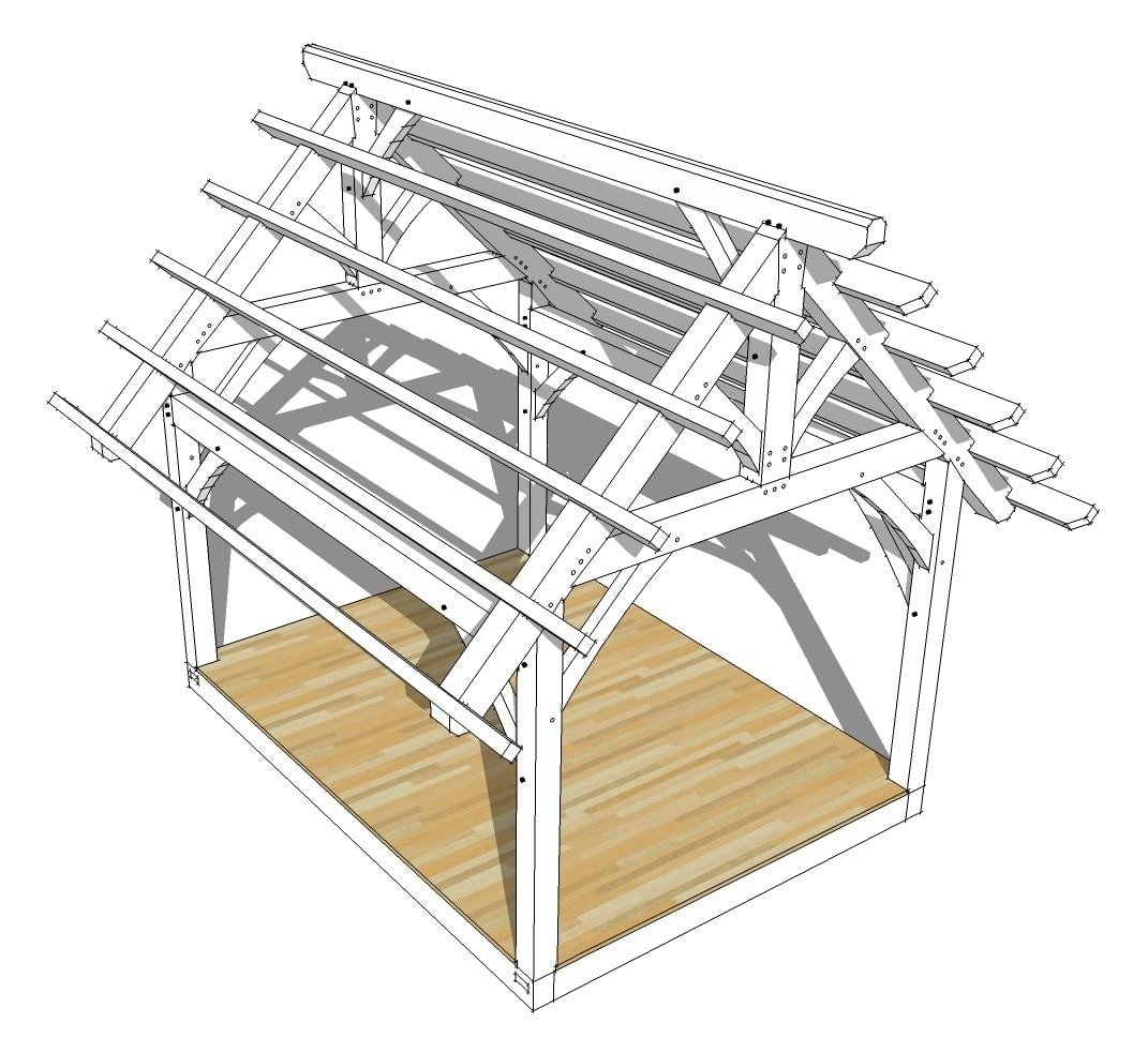 12 16 king post timber frame plan timber frame hq for Frame plan