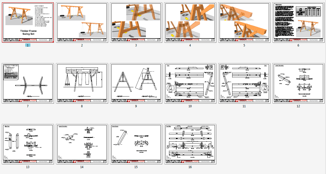 Timber frame swing set plan timber frame hq for Frame plan