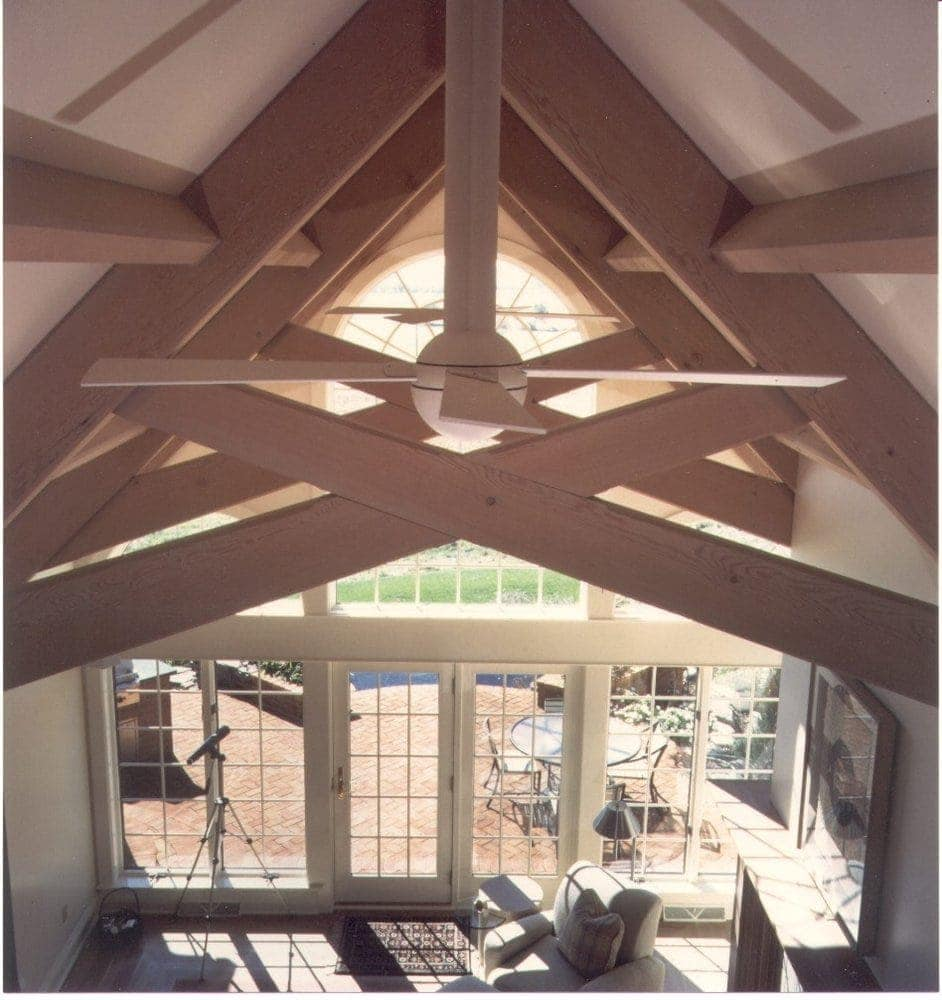 Timber scissor trusses in great room - Lititz, PA