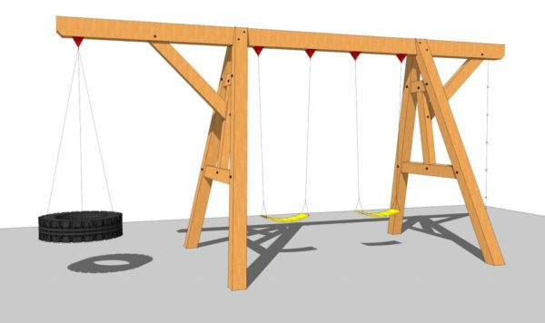 timber frame wooden swing set