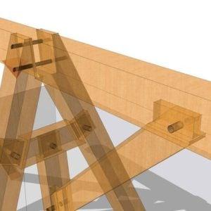 timber frame wooden swing set close up