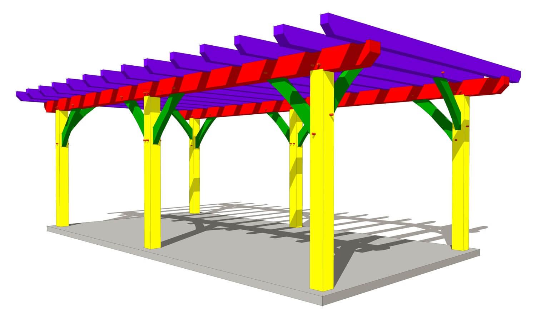 12x24 Timber Frame Pergola Plan Timber Frame Hq