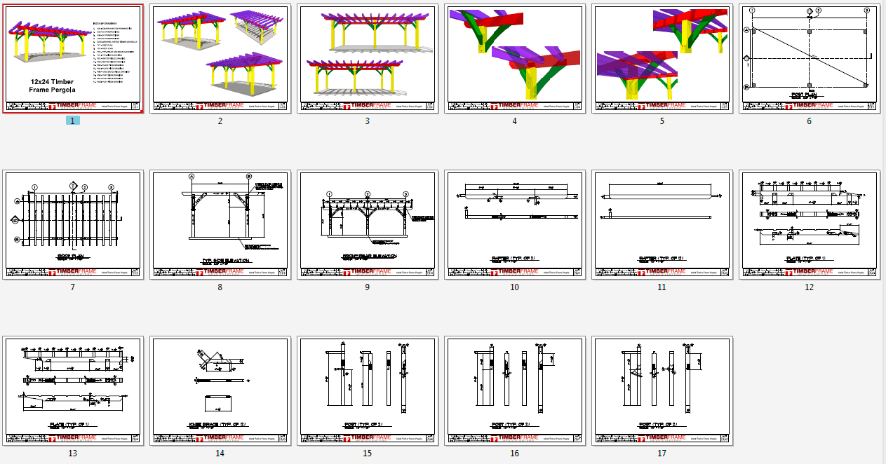 12x24 Timber Frame Pergola Plan Timber Frame Hq