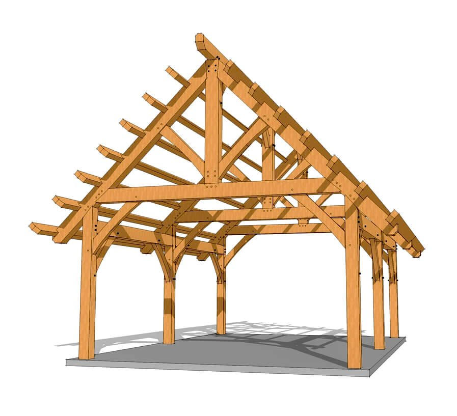 16x24 heavy timber pavilion plan timber frame hq for Timber frame designs
