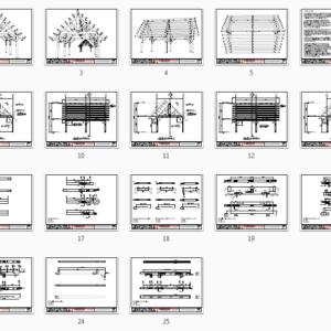 16x24 Heavy Timber Pavilion Plan