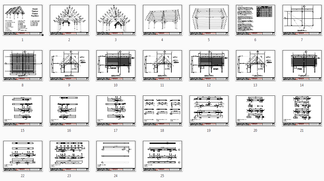 16x24 Heavy Timber Pavilion Plan - Timber Frame HQ