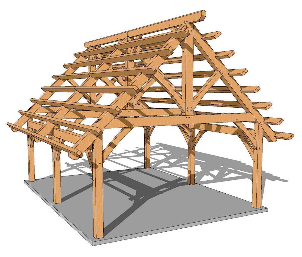 18x24 foot timber frame pavilion plan timber frame hq for Timber frame designs