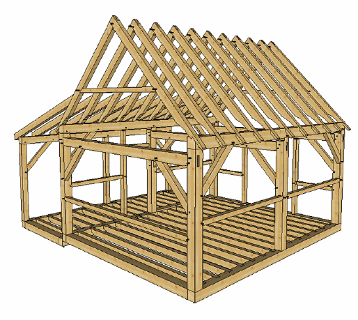 16x20 timber frame cabin with lean to timber frame hq for Post and beam shed plans