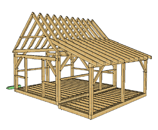 16x20 post and beam cabin with porch timber frame hq for Timber frame porch designs