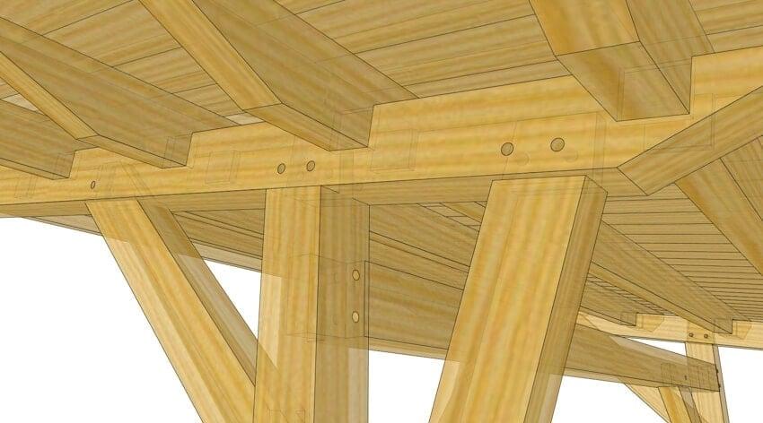 Cantilevered timber frame pergola hq