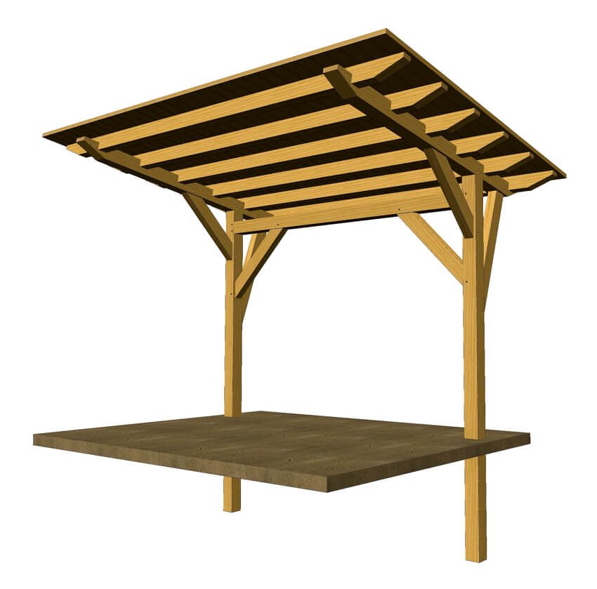 Cantilevered timber frame pergola timber frame hq for Timber frame designs