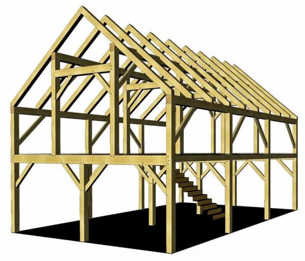 24x36 timber frame barn plan