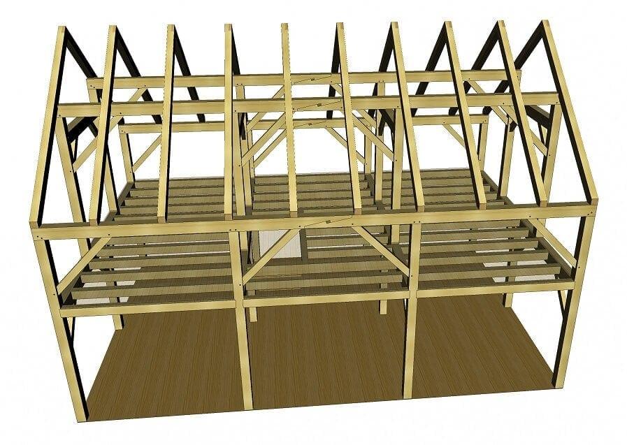 24x36 Timber Frame Barn Home Plan Timber Frame Hq