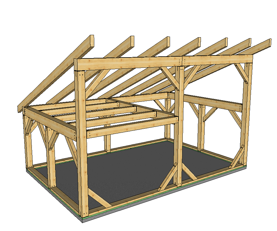 16 x 24 t rex shed roof post and beam timber frame hq for Post and beam shed plans