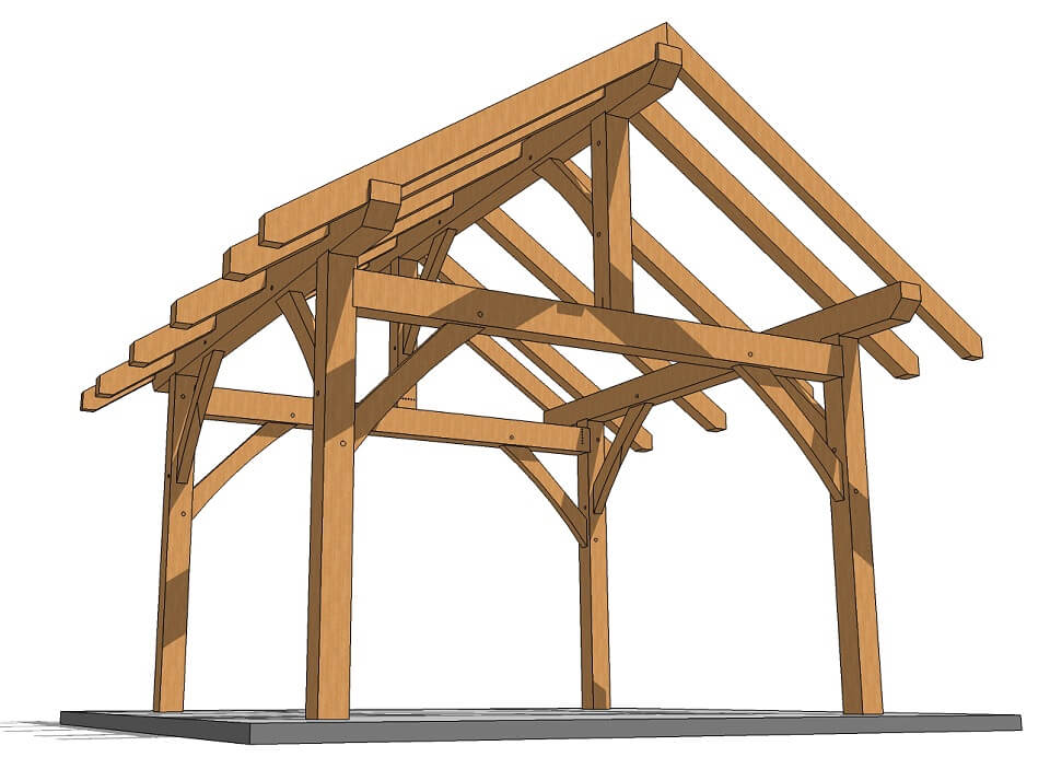 14x14 post and beam plan timber frame hq for Post and beam shop plans