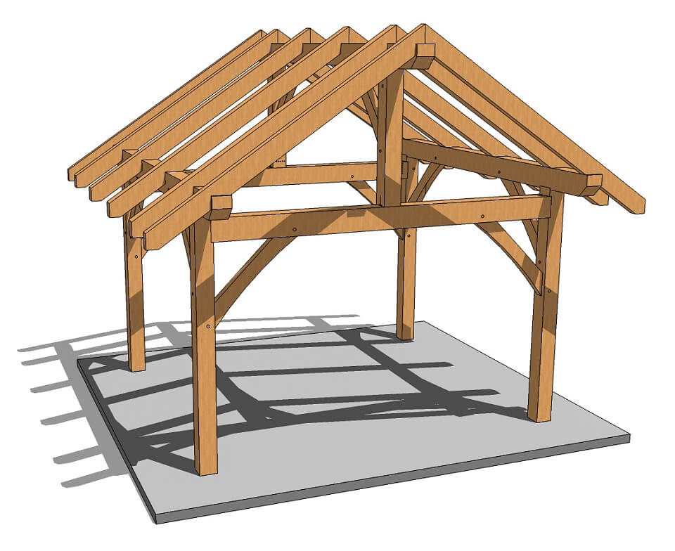 14x14 post and beam kit timber frame hq for Maine post and beam kits