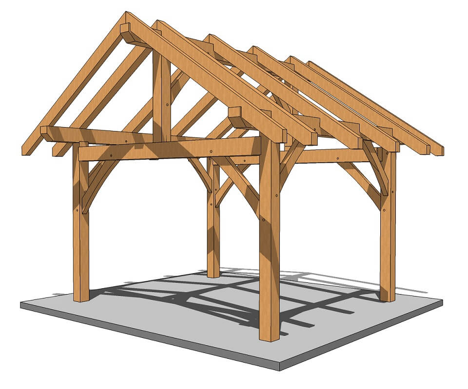 14×14 Post and Beam Outbuilding - Timber Frame Pergola Plans - Timber Frame HQ