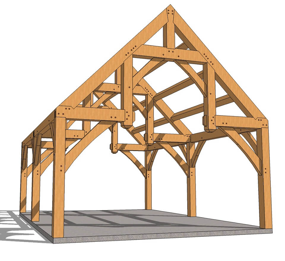 16x24 Hammer Beam Plan Left Front
