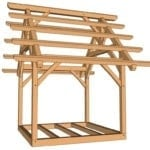 10x10 King Post Truss Frame from side at eye level