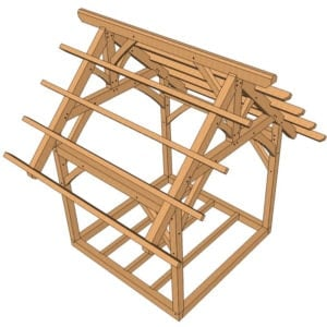 10x10 King Post Truss Frame from above