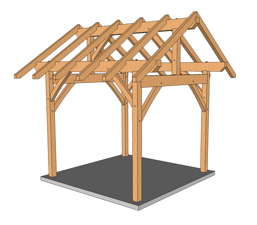 Timber Frame Pergola Plans. 10x10 King Post – Post and Beam Plan - Timber Frame Pergola Plans - Timber Frame HQ