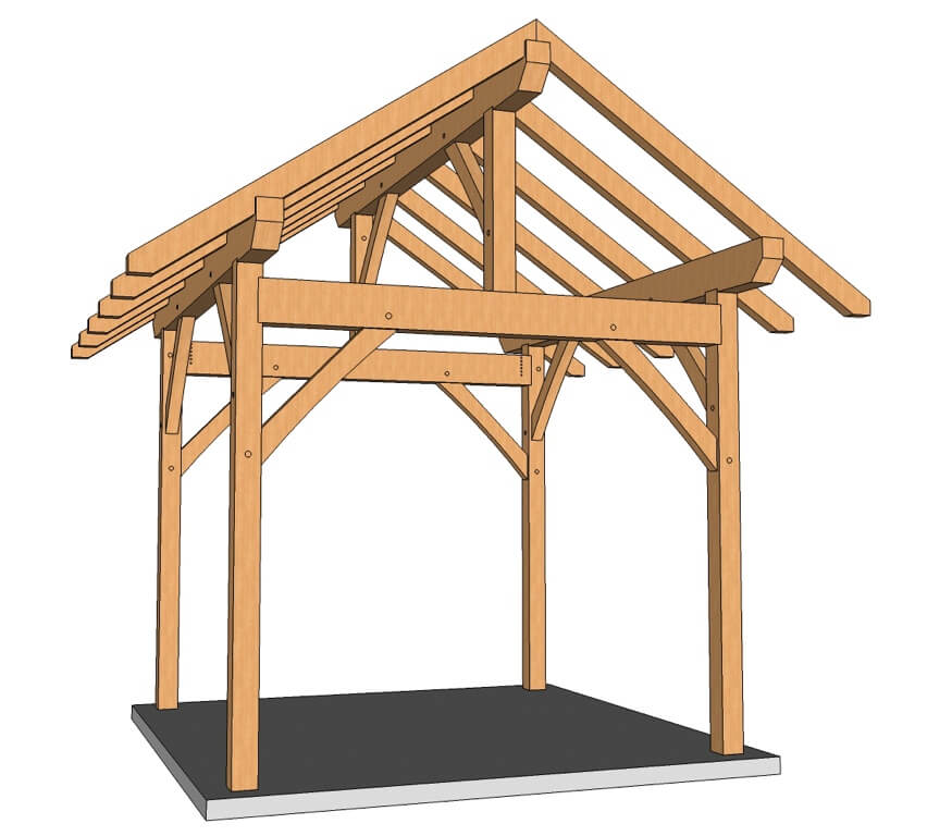 10x10 King Post – Post and Beam Plan 3D
