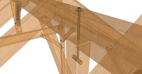 10x10 King Post – Post and Beam Plan Transparent Closeup