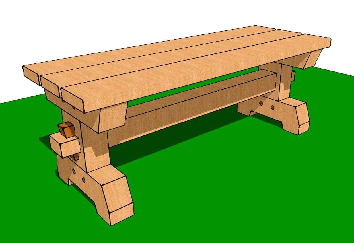 Timber Frame Garden Bench Plans - Timber Frame HQ