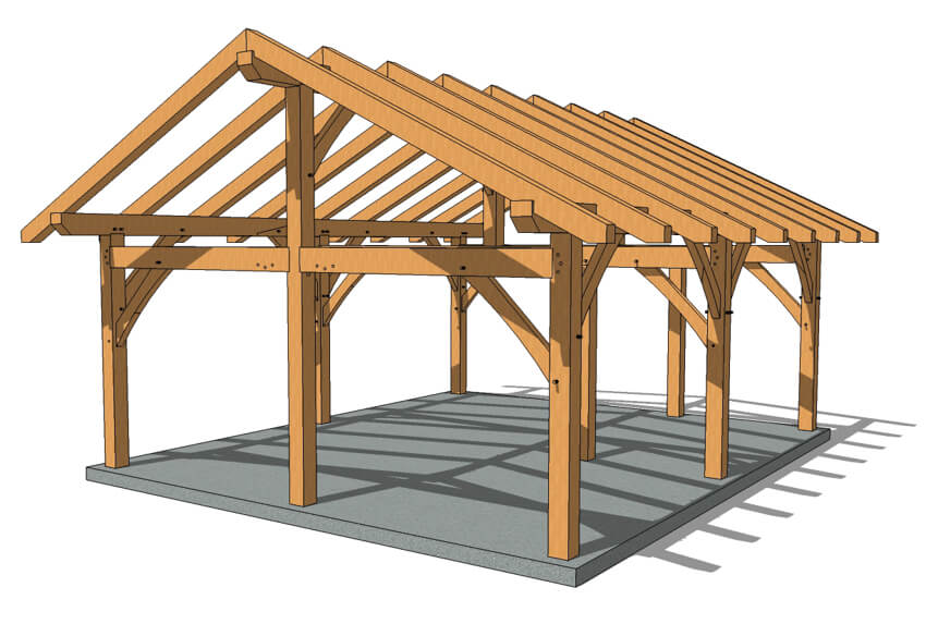20x24 King Post Timber Frame