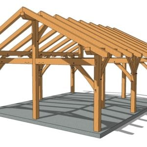 20x24 King Post Timber Frame Eye Level