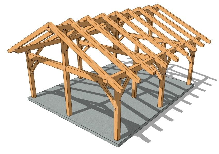20x24 King Post Timber Frame Perspective
